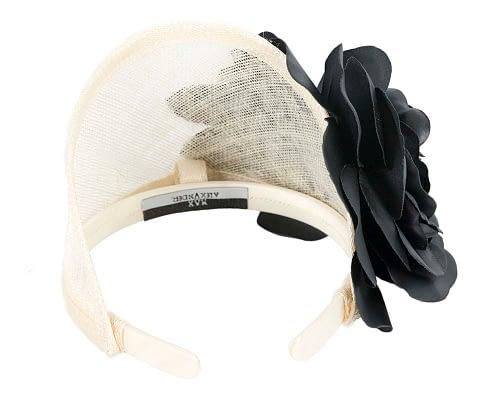 Fascinators Online - Cream black leather flower headband fascinator by Max Alexander 4