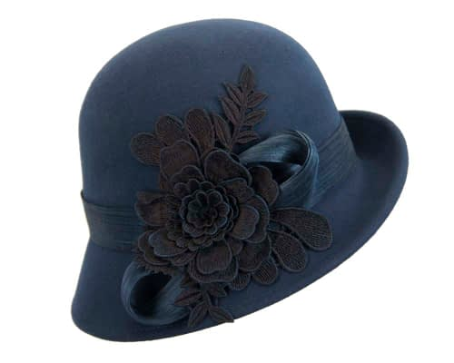 Fascinators Online - Exclusive navy felt cloche hat with lace by Fillies Collection 2