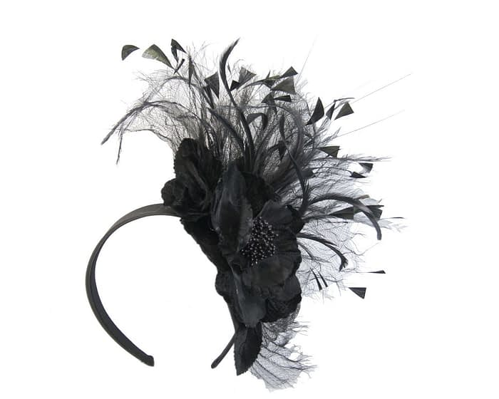 Fascinators Online - Black flower & feathers racing fascinator 2