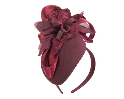 Fascinators Online - Tall burgundy felt pillbox with flower by Fillies Collection 2