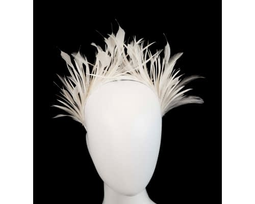 Fascinators Online - Cream feather crown racing fascinator by Max Alexander 14