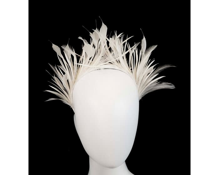 Fascinators Online - Cream feather crown racing fascinator by Max Alexander 1