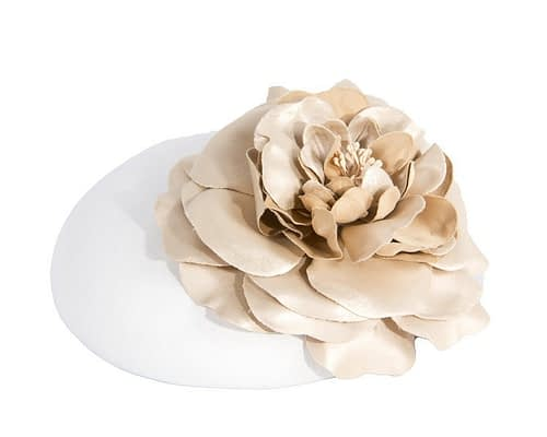 Fascinators Online - White leather fascinator with gold flower 1