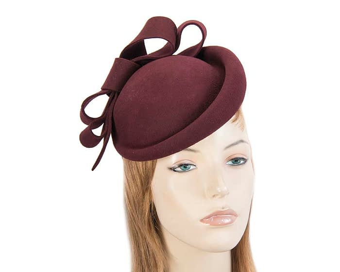 Fascinators Online - Large burgundy felt fascinator hat by Fillies Collection 1