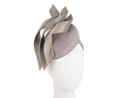 Fascinators Online - Silver pillbox racing fascinator with jinsin trim by Fillies Collection 145