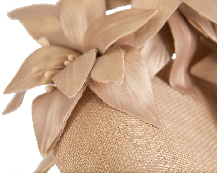 Fascinators Online - Gold leather flower pillbox fascinator by Fillies Collection 6