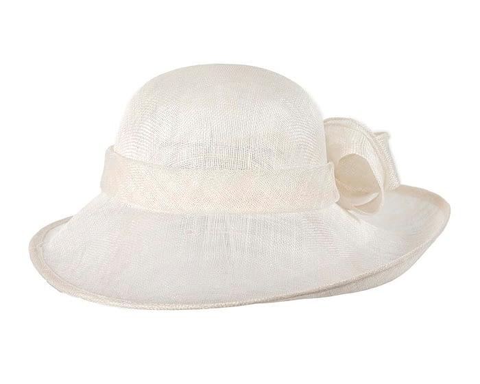 Fascinators Online - Wide brim off-white sinamay racing hat by Max Alexander 3