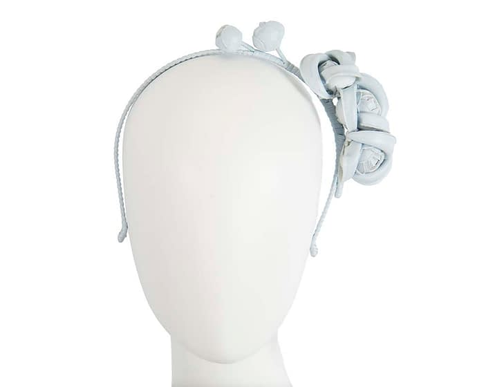 Fascinators Online - Light Blue leather flowers headband by Max Alexander 1