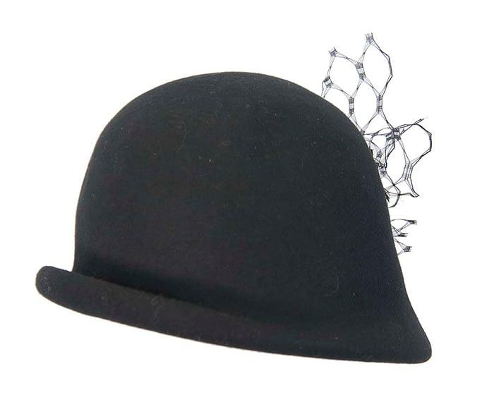 Fascinators Online - Black felt bucket hat from Fillies Collection 3