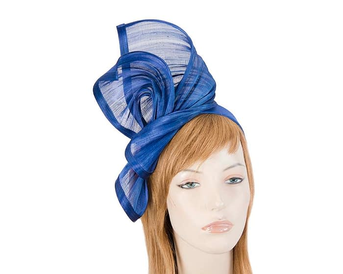 Fascinators Online - Royal blue twists of silk abaca fascinator by Fillies Collection 1