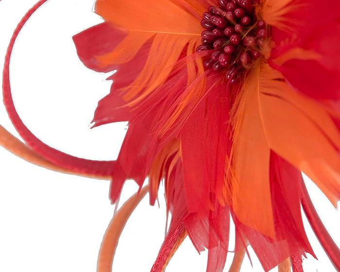 Fascinators Online - Red & orange feather flower fascinator headband by Max Alexander 3