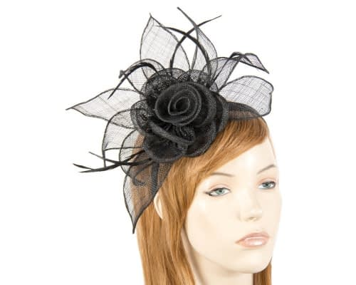 Fascinators Online - Large black sinamay racing fascinators 3