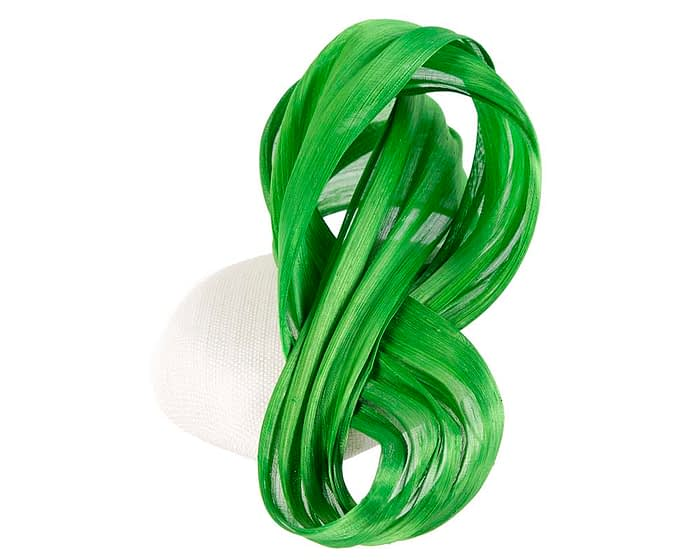 Fascinators Online - White pillbox with lime bow by Fillies Collection 4