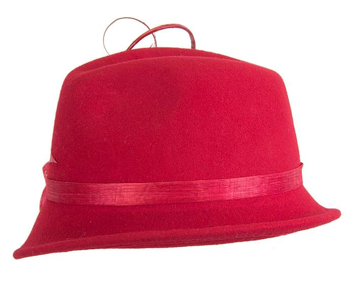 Fascinators Online - Exclusive red felt trilby hat by Fillies Collection 6