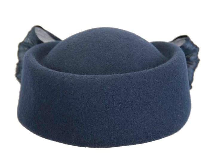 Fascinators Online - Navy felt ladies fashion beret hat with bow by Fillies Collection 7
