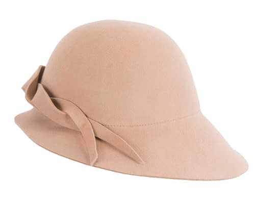 Fascinators Online - Unusual beige felt wide brim hat by Max Alexander 3