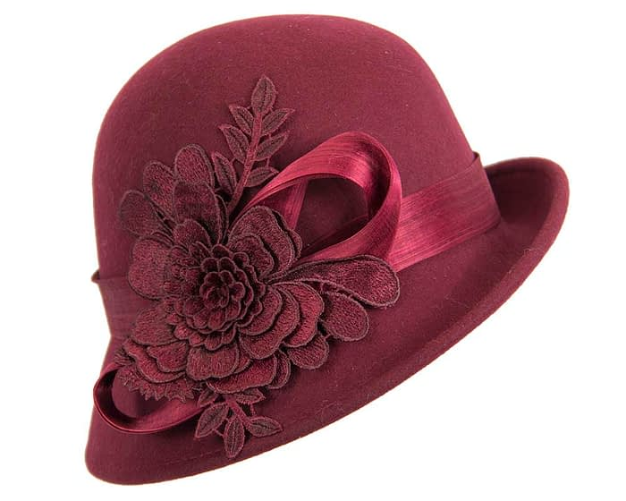 Fascinators Online - Exclusive burgundy felt cloche hat with lace by Fillies Collection 5