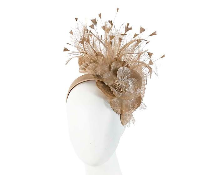 Fascinators Online - Gold flower & feathers racing fascinator 1
