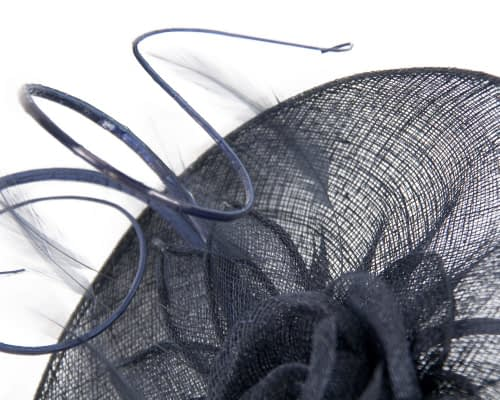 Fascinators Online - Large navy sinamay racing fascinator with feathers by Max Alexander 4