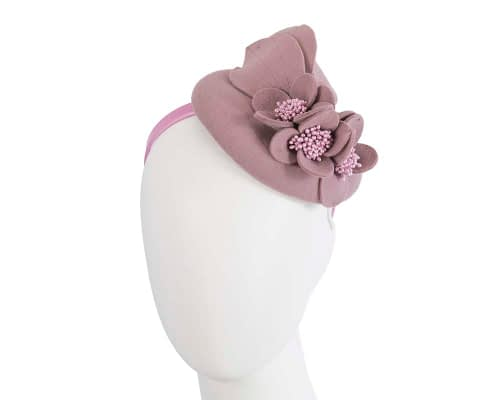 Fascinators Online - Dusty pink felt winter pillbox fascinator by Max Alexander 1