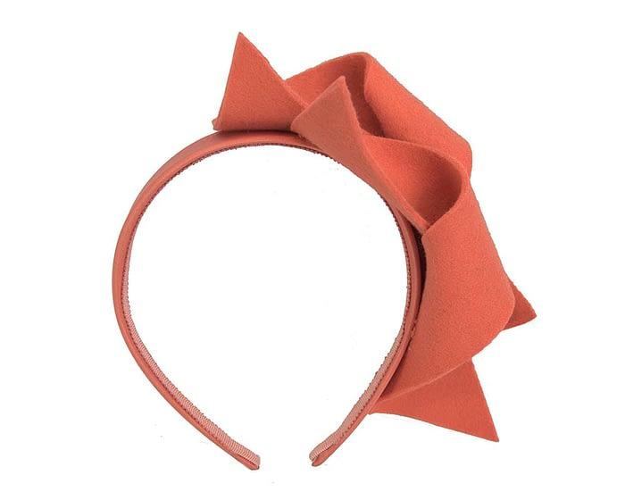 Fascinators Online - Burnt orange felt twisted fascinator by Max Alexander 4