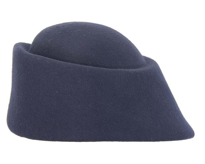 Fascinators Online - Designers navy felt hat 6