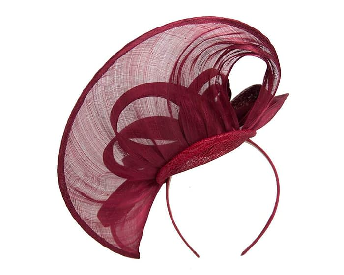 Fascinators Online - Large burgundy wine heart fascinator by Fillies Collection 4