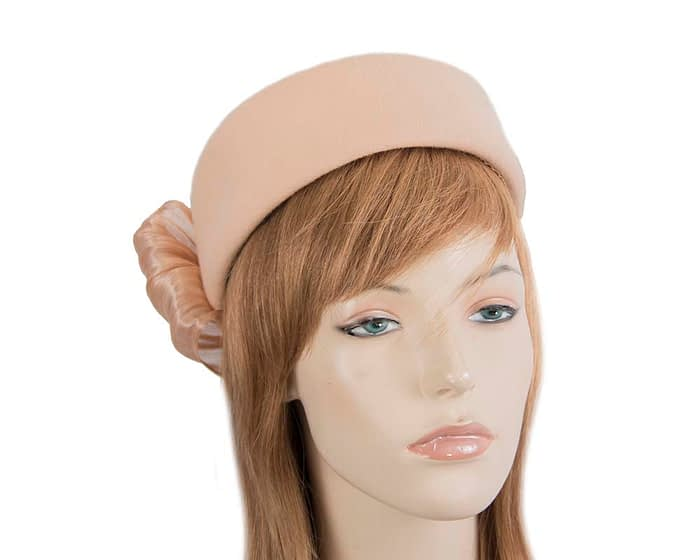 Fascinators Online - Beige felt ladies fashion beret hat with bow by Fillies Collection 1