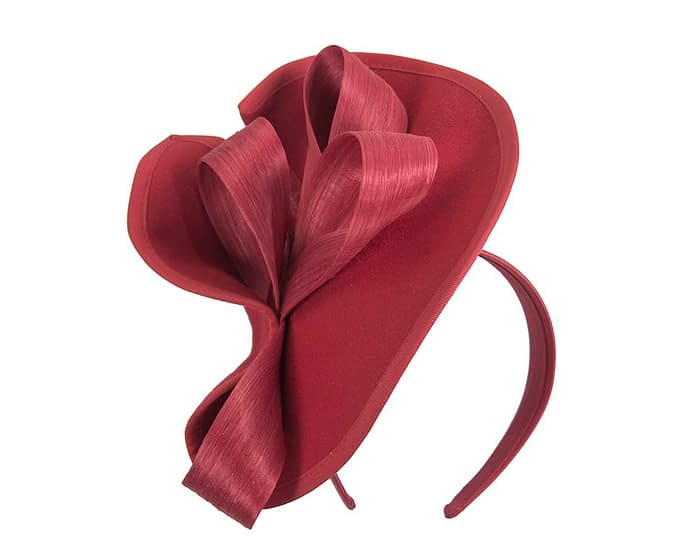 Fascinators Online - Red felt twist with bow by Fillies Collection 2