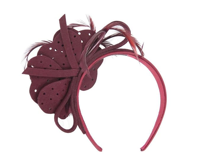 Fascinators Online - Wine felt flower and feathers winter fascinator 4