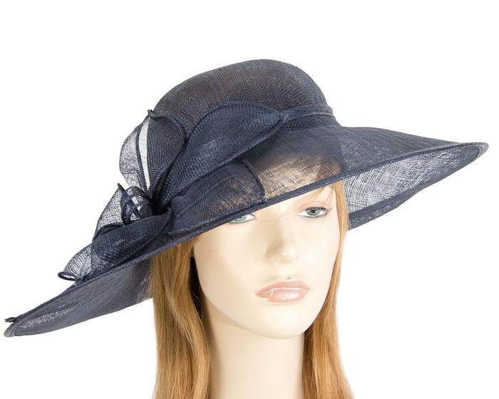 Fascinators Online - Large navy fashion hat by Max Alexander 1