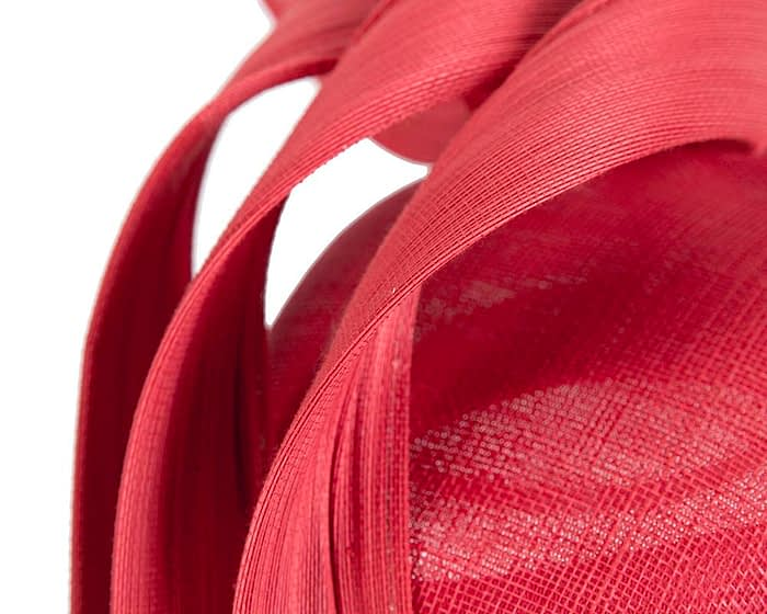 Fascinators Online - Red pillbox racing fascinator with jinsin trim by Fillies Collection 5