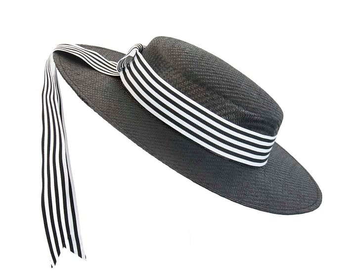 Fascinators Online - Black & white boater hat by Max Alexander 2