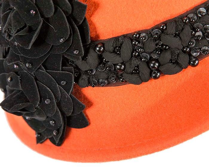 Fascinators Online - Orange ladies winter felt cloche hat by Fillies Collection 5