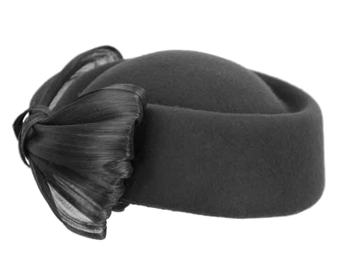 Fascinators Online - Black felt ladies fashion beret hat with bow by Fillies Collection 5