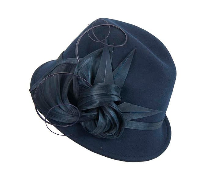 Fascinators Online - Exclusive navy felt trilby hat by Fillies Collection 2