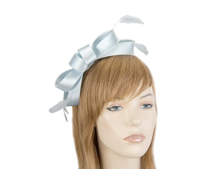 Fascinators Online - Sky blue satin bow racing fascinator with feathers by Max Alexander 1