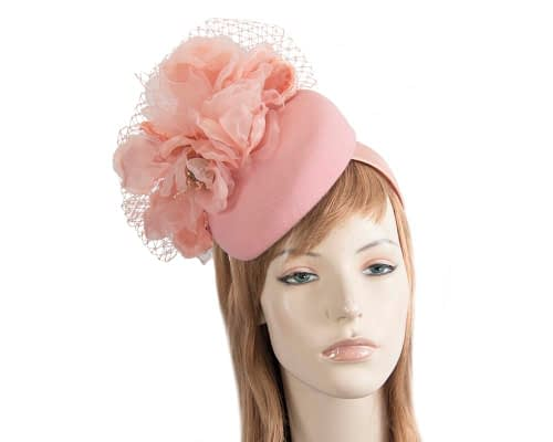 Fascinators Online - Pink pillbox fascinator with flower by Fillies Collection 107