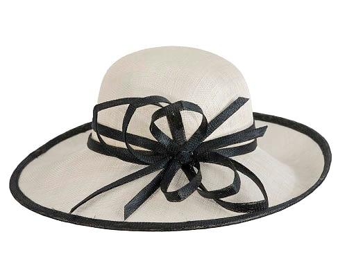 Fascinators Online - Cream & Black ladies sinamay racing hat by Max Alexander 4
