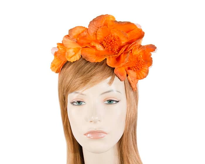 Fascinators Online - Burnt orange flowers on the headband 1