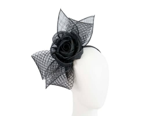 Fascinators Online - Large black sinamay bow fascinator by Max Alexander 42