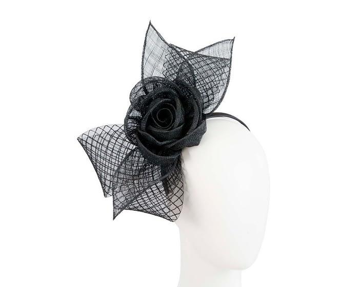 Fascinators Online - Large black sinamay bow fascinator by Max Alexander 1