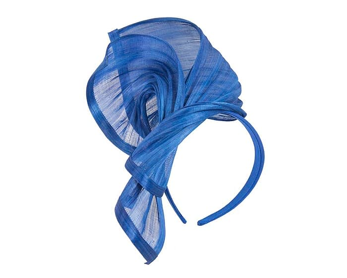 Fascinators Online - Royal blue twists of silk abaca fascinator by Fillies Collection 2