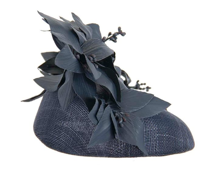 Fascinators Online - Navy leather flower pillbox fascinator by Fillies Collection 4