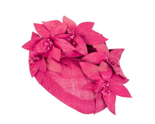 Fascinators Online - Fuchsia leather flower pillbox fascinator by Fillies Collection 2