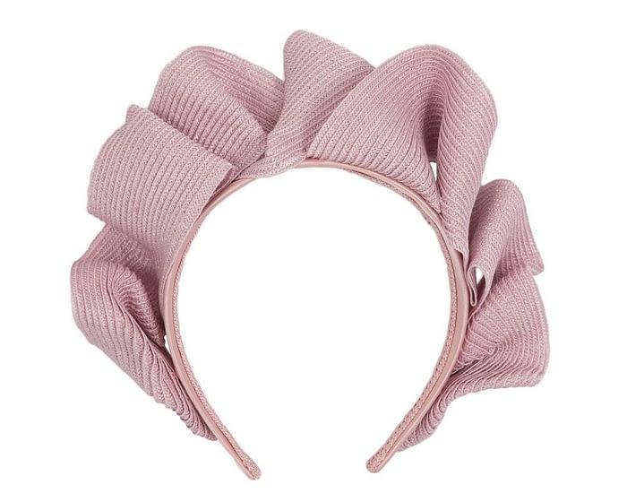 Fascinators Online - Dusty pink PU leather crown fascinator by Max Alexander 2