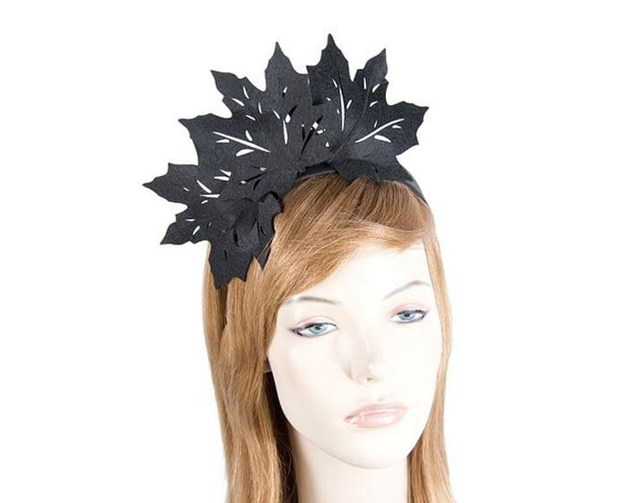 Fascinators Online - Black Laser Cut felt Maple Leaves on a Headband 1