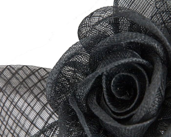 Fascinators Online - Large black sinamay bow fascinator by Max Alexander 3