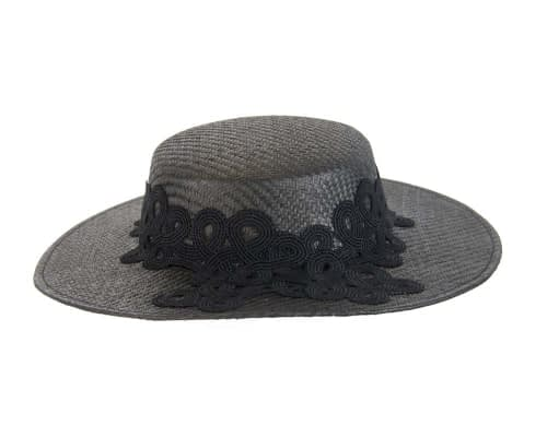 Fascinators Online - Black fashionable boater hat with lace 5