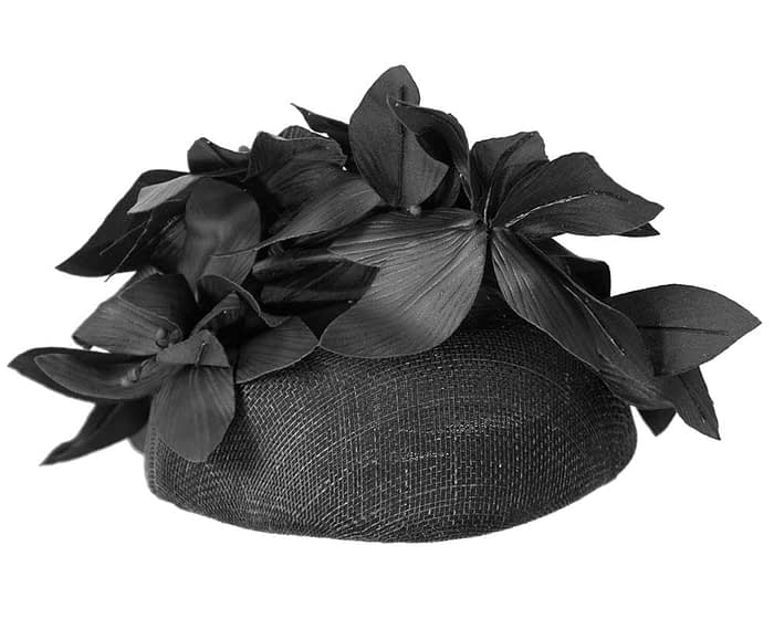 Fascinators Online - Black leather flower pillbox fascinator by Fillies Collection 5